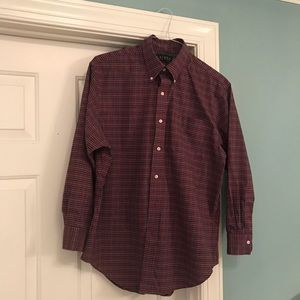 Polo dress shirt red checked size 16.5 32-33